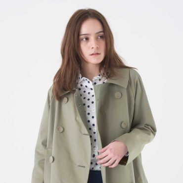 COTTON TWILL COAT/DOTTED PRINT SHIRT/MARINE PANTS