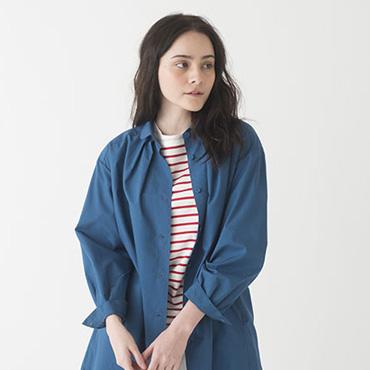 Coat/Stripe top/Wide pants