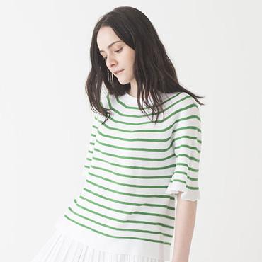 Stripe knit/Pleated skirt