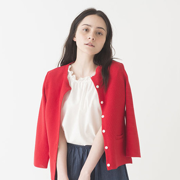 Cardigan/Furyl top/Denim skirt