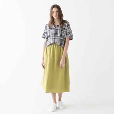 Check shirt/Linen rayon skirt