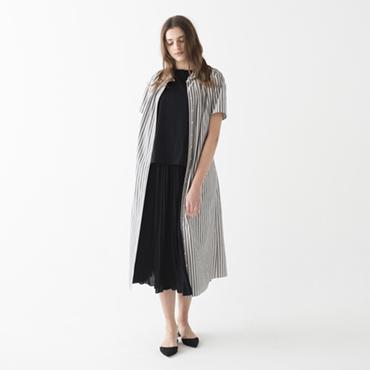 Stripe long dress/Sleeveless knit/Pleated skirt