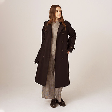 Trench coat/Tack patten knit/Wide pants