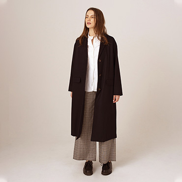 Tailored long coat/Parachute button shirt/Wide pants