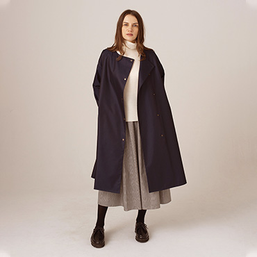 TC twill coat/High neck knit/Glen check skirt