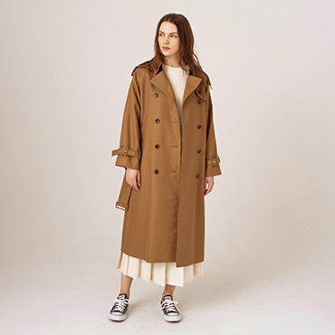Trench coat/Rib knit/Organic cotton pleated skirt