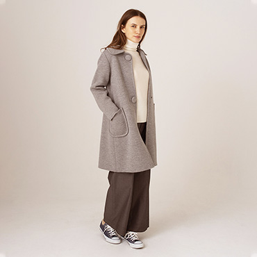 Milan rib 2 buttons knit coat/High neck knit/Wide pants