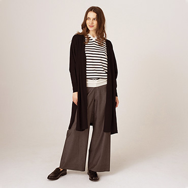 Long crdigan/Border knit/Wide pants