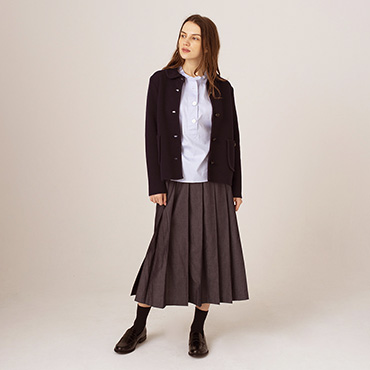 Knit jacket/Prachute button shirt/Denim pleated skirt