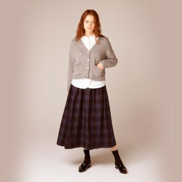 Cardigan / Parachute button shirt / Tartan skirt