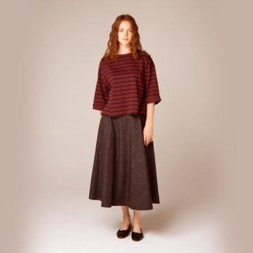 Border T-shirt / Denim skirt