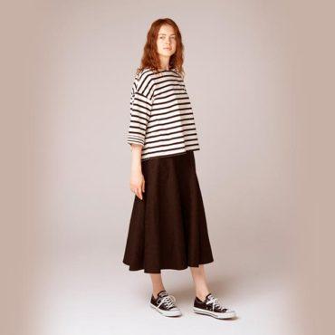 Border T-shirt / Jacquard skirt