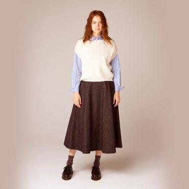 Knit vest / Stripe shirt / Denim skirt
