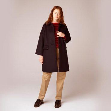Wool coat / Border knit / Cotton pants