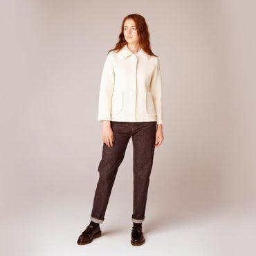 Knit jacket / Denim pants