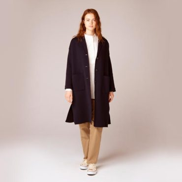 Knit coat / Stand collar shirt / Cotton pants