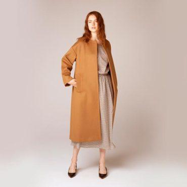 Wool long coat / Floral print blouse / Floral print skirt