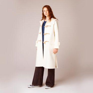 Duffle coat / Crew neck knit / Denim pants