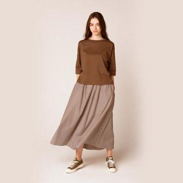 T-shirt / Stripe gathered skirt