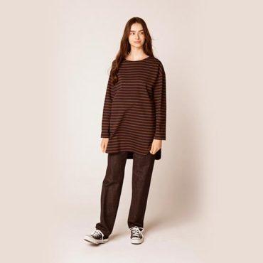 Border shirt / Denim pants