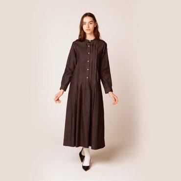 Denim standcollar dress