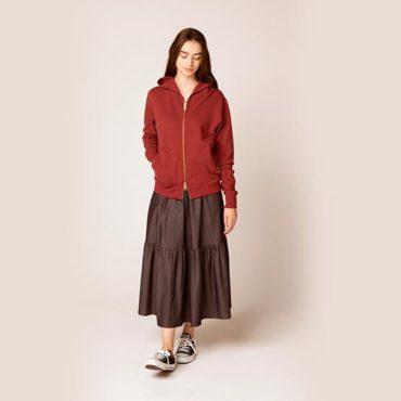 Zip parker / Denim tiered skirt