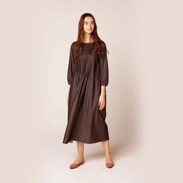 Pin tuck denim dress