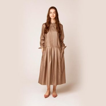 Satin stand collar dress