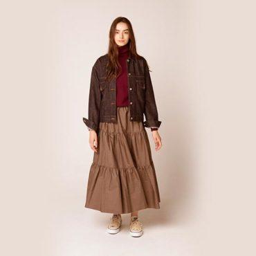 Denim jacket / Turtleneck Knit / Tiered skirt