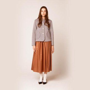 Milan rib knit jacket / Satin gathered skirt